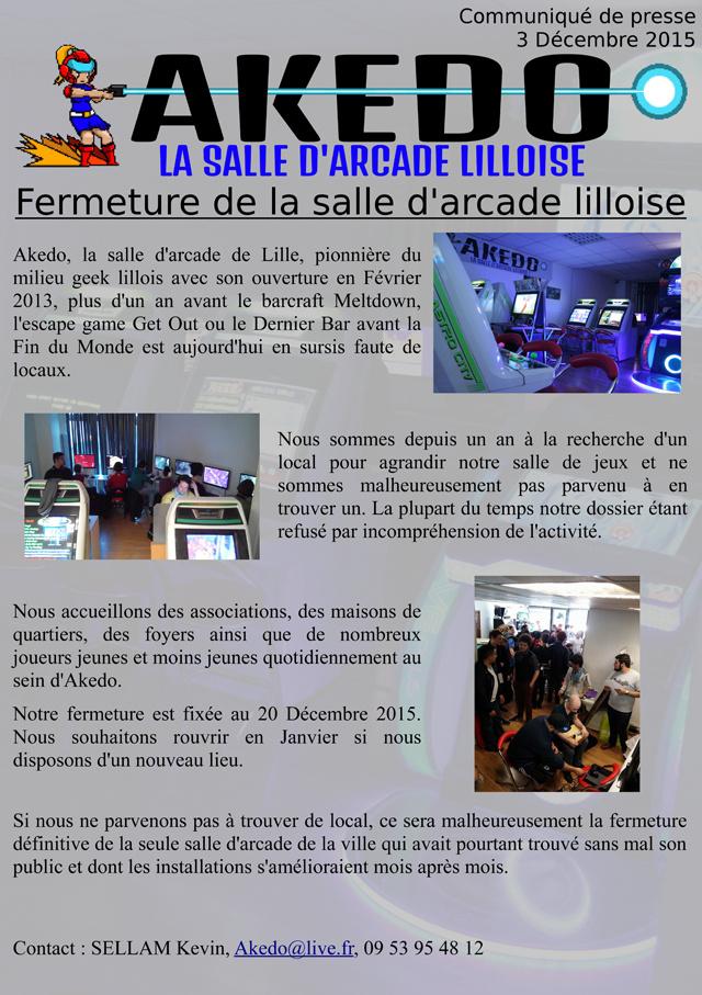 La nouvelle salle d'arcade Akedo (Lille, France) Fermeture-akedo